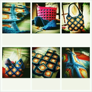 my blue crochet bag